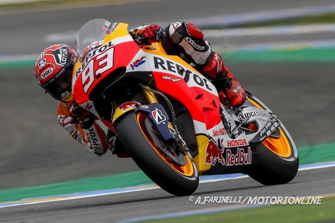MotoGP Le Mans, Warm Up: Marquez al Top, bene Iannone e Dovizioso, Rossi è 7°