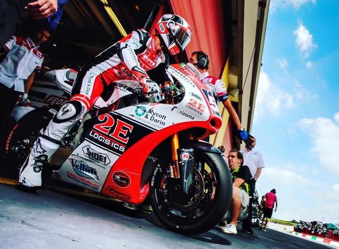 Moto2: Mattia Pasini in pista a Misano con la Kalex del Team Gresini
