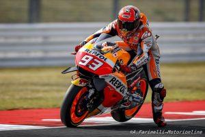 MotoGP Misano, Warm Up: Marquez, miglior tempo e caduta, bene Rossi e le Ducati