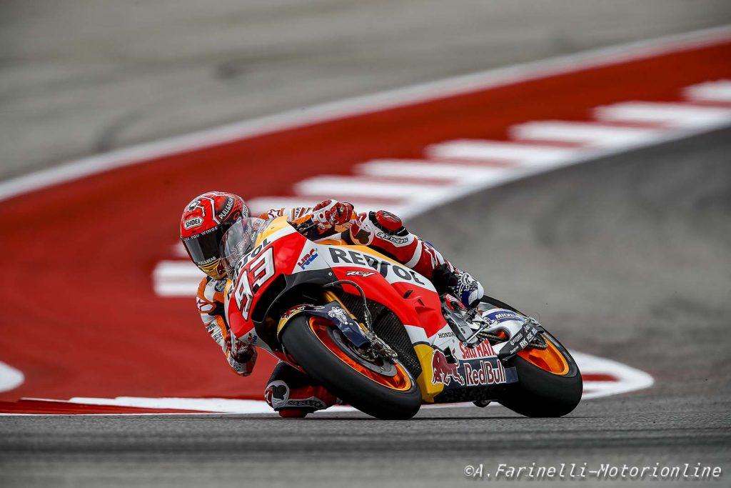 """MotoGP Stati Uniti, QP: Marquez """"piega"""" Vinales, è sua la pole, Rossi in prima fila"""