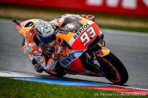 MotoGP Brno, Warm Up: Sul bagnato Marquez davanti a Ducati e Apriilia