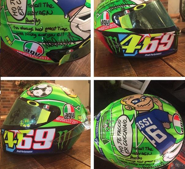 Valentino Rossi dona alla famiglia di Hayden un casco dedicato a Nicky