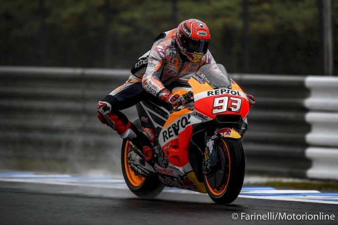 MotoGP Motegi FP4: Marquez detta il passo, Rossi a terra