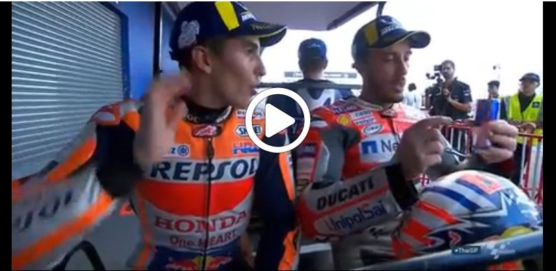 MotoGP | Gp Thailandia: Lo scambio di battute tra Marquez e Dovizioso a fine gara [Video]