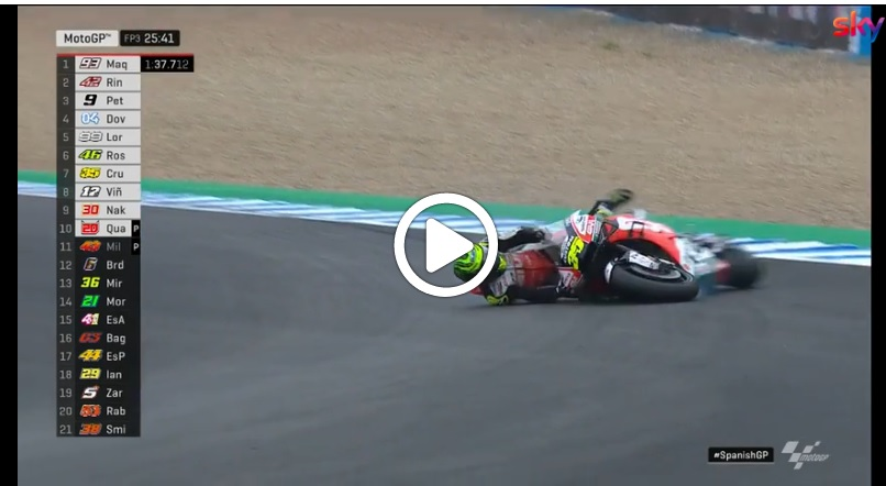 MotoGP | Gp Jerez: La caduta di Crutchlow nelle FP3 [VIDEO]