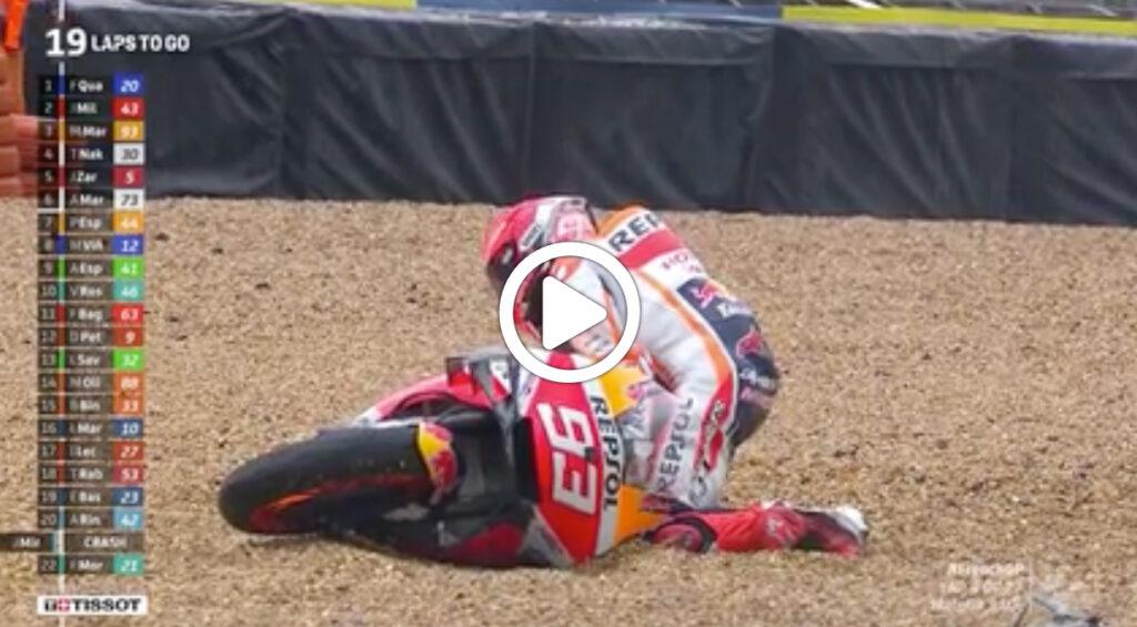 MotoGP | GP Francia, la doppia caduta di Marquez a Le Mans [VIDEO]