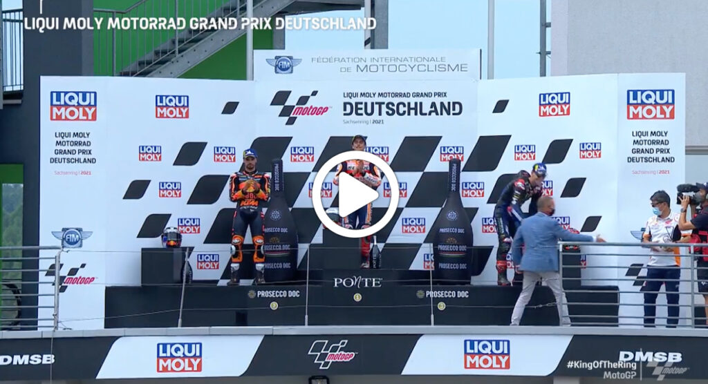 MotoGP | GP Germania, la festa sul podio di Marc Marquez [VIDEO]